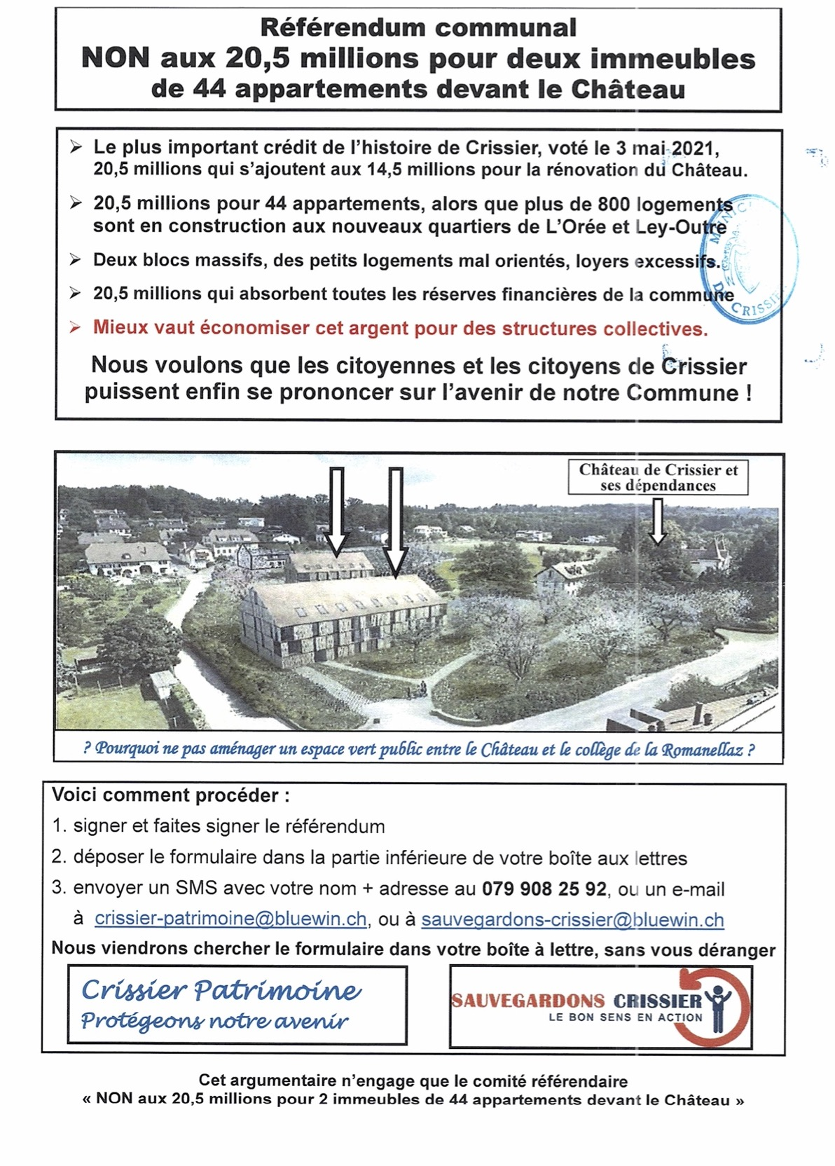 Référendum communal le Château Recto avec Sceau Communal